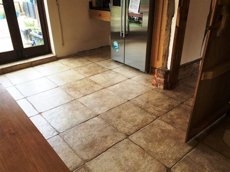 deep cleaning a textured limestone kitchen floor in horsham east sussex tile doctor