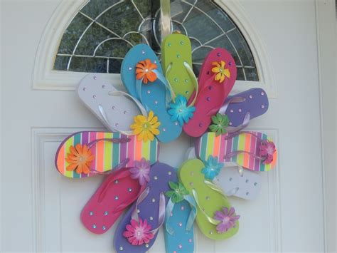 handmade flip flop wreath door wall decor ebay