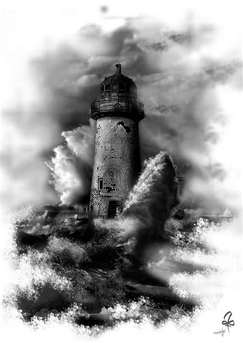 tattoo photoshop photoshop lighthouse blach white waves sea