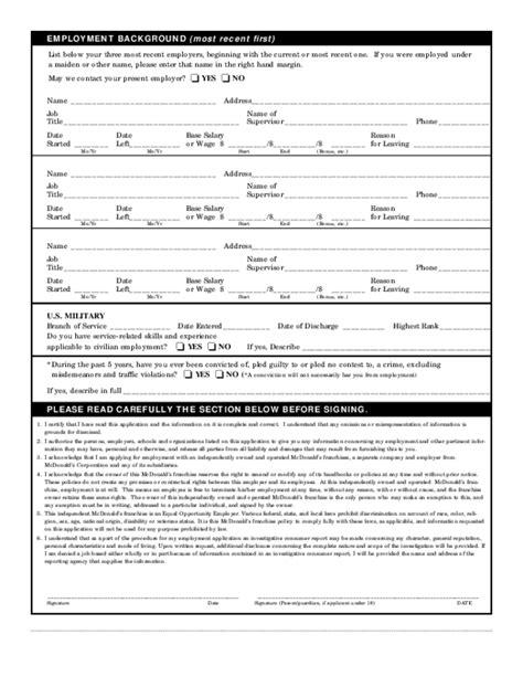 printable job application for mcdonalds employment application mcdonalds form free resume