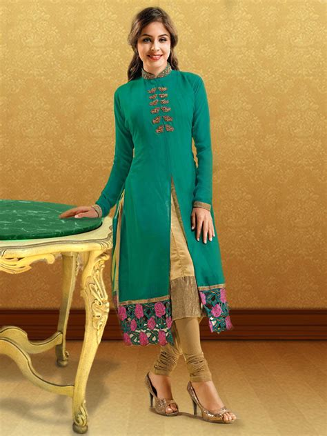 design house kurta online buy ishin georgette embroidered kurti green ashr dolly