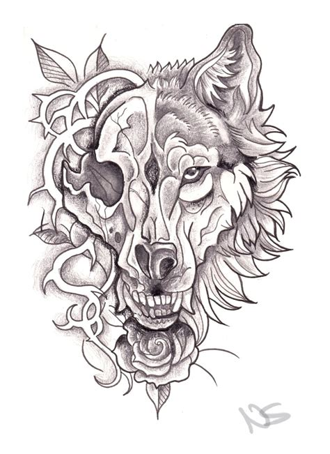 neo traditional wolf skull design by bluepisces97 on