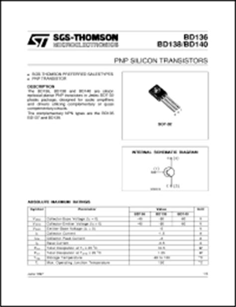 datasheet transistor bd140 bd140 datasheet pnp silicon transistor from sgs thomson microelectronics