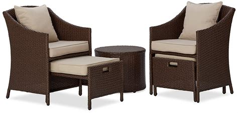 5pc Patio Set Table Chairs Ottomans Rattan Weather