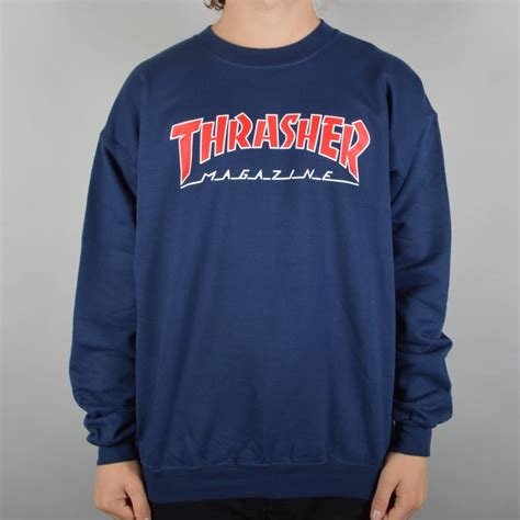Sweatshirt Navy Ninenine thrasher skate mag outlined crewneck sweater navy skate clothing from skate store uk