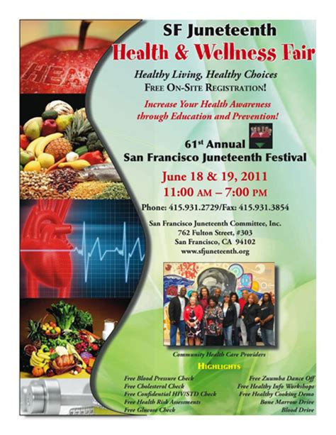 Celebrate Juneteenth Hayes Valley Voice Health Fair Flyer Template Free
