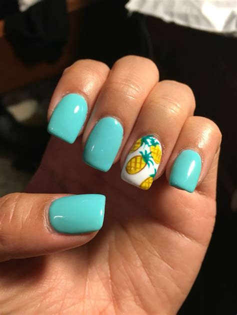 summer nails summer nails teal acrylics with pineapples nails