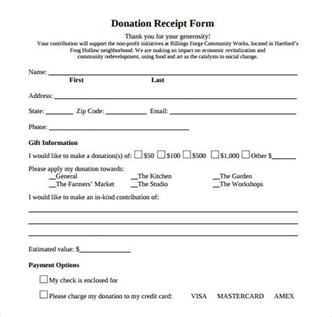 sample donation receipt template   documents   word