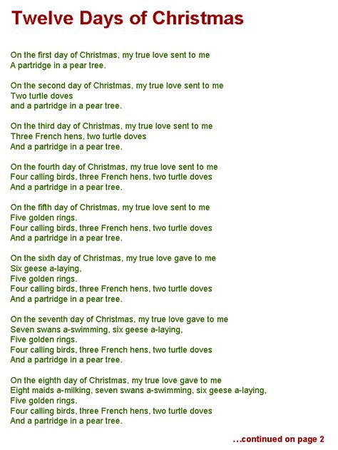 printable lyrics for 12 days of christmas 1000 images about christmas carols on pinterest