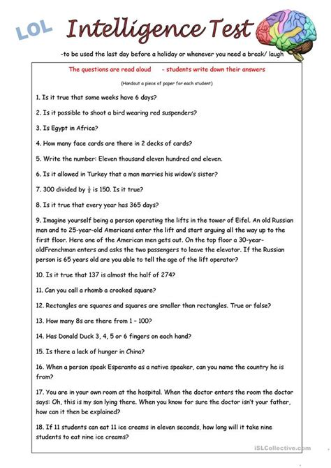 printable iq test for elementary students iq test worksheet free esl printable worksheets made by