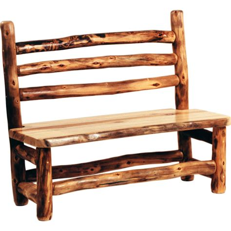 log bench aspen log bench w back bc4 mountain woods furniture