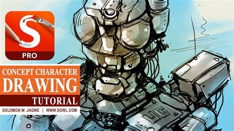 concept art tutorial sketchbook pro autodesk sketchbook pro tutorial robot concept drawing by