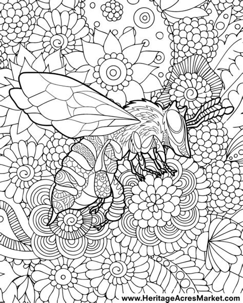 complicated coloring pages pdf bee theme adult complicated coloring page pdf digital download