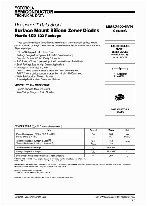 surface mount zener diode mmsz5221bt1 310807 pdf datasheet ic on line