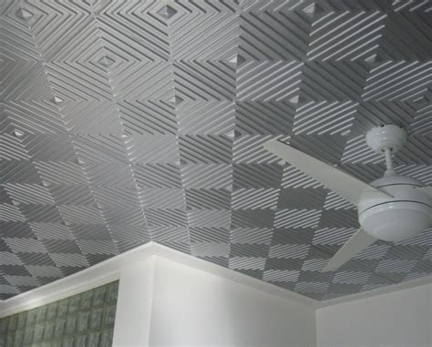 Ceiling Tiles - awesome gray silver ceiling tile idea with cool geometric