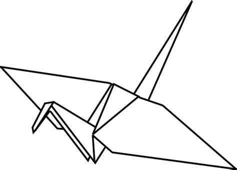 Origami Bird Drawing - paper crane outline clip at clker vector clip