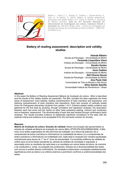 reading comprehension test validity battery of reading assessment pdf download available