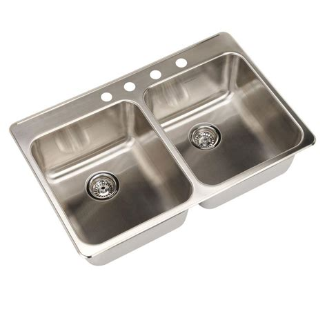 American Standard Stainless Steel Kitchen Sink American Standard Prevoir Drop In Brushed Stainless Steel 33 In 4 Basin Kitchen