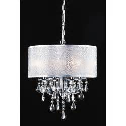 chandeliers overstock indoor 4 light chrome white shades chandelier