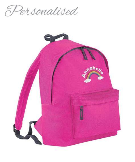 personalised girls school rucksack with rainbow logo