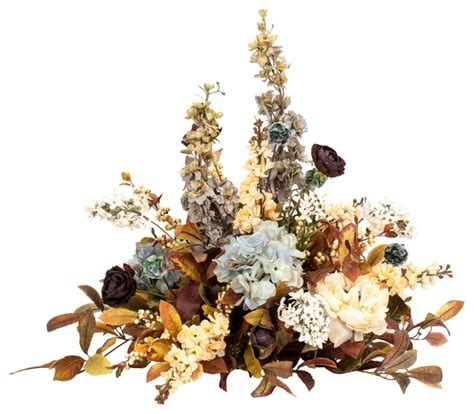 Floral Interiors Artificial Flowers And Trees by Blue And Brown Silk Centerpiece Arrangements Traditional