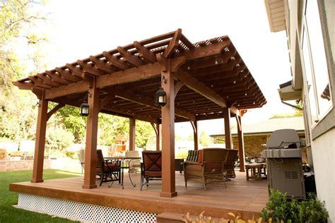 backyard deck pergola lattice fullwrap cantilever roof