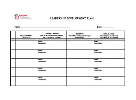 development plan template 8 free word pdf documents