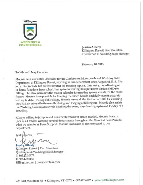 sle of letter of recommendation for reference letter by conference wedding sales manager