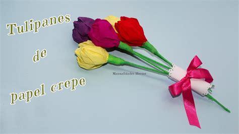 como hacer calas en papel crepe tulipanes de papel crepe youtube