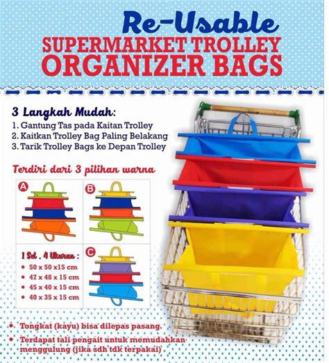 Keranjang Belanja supermarket trolley organizer shopping bag 4 pcs keranjang belanja multi color