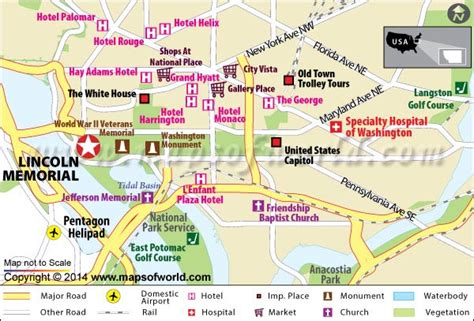 washington dc map lincoln memorial allwonders
