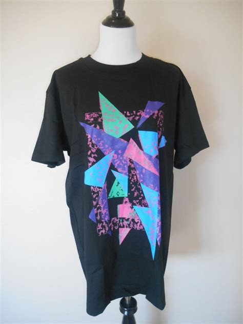 80s abstract pattern shirt 80s 90s t shirt tee t shirts black neon abstract colorful
