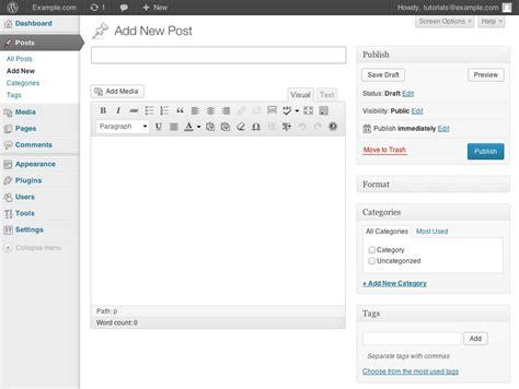 wordpress tutorial new post wordpress creating editing removing posts