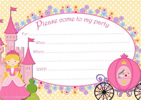 princess themed invitation template 10 best images of free printable princess invitation