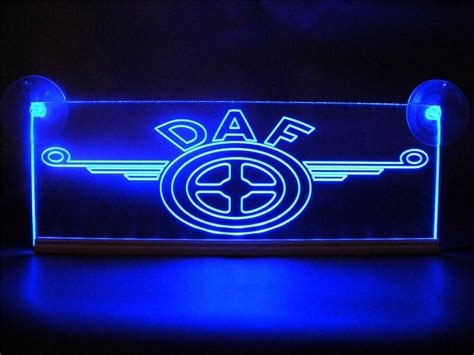daf logo engraved illuminating blue neon plates led  volts ebay