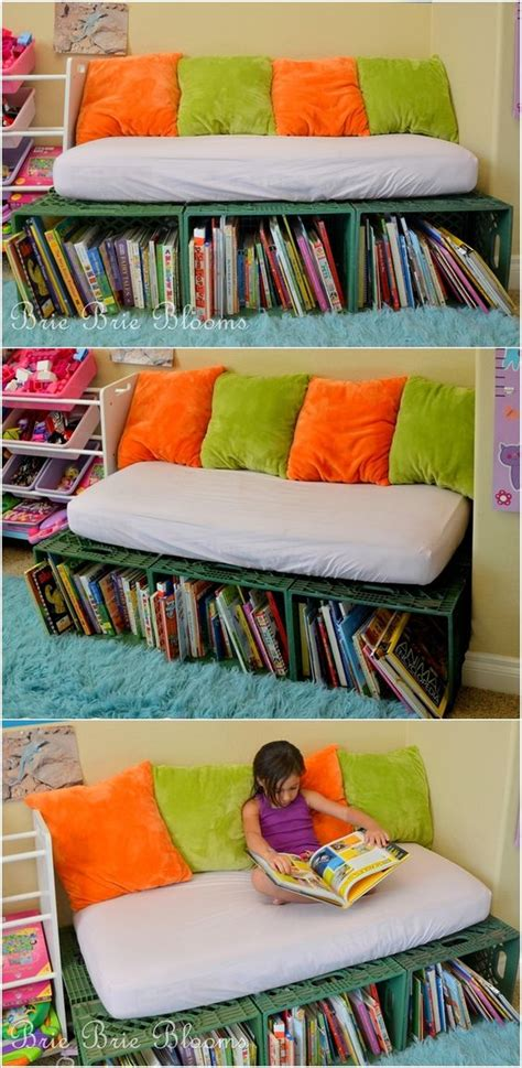 kids reading bench crates turn them to a bookshelf bench for kids reading