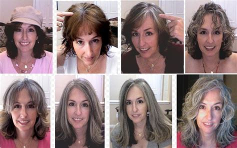 coloring gray hair before and after going gray looking great growing out permanent hair