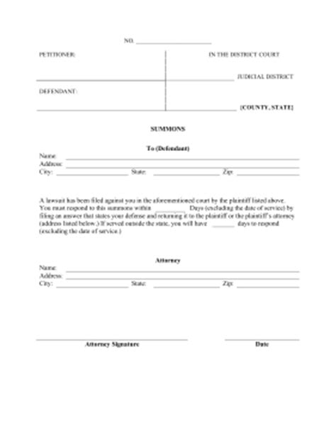 Printable Summons Legal Pleading Template Court Papers Template