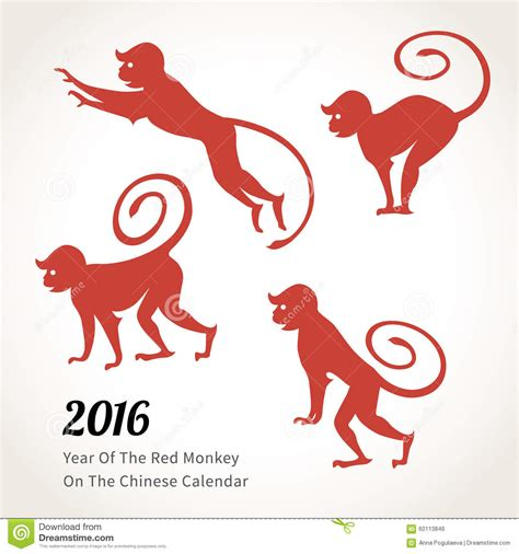 new year monkey element monkey symbol of 2016 on the calendar stock