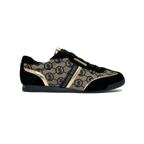 mk sneakers lyst michael kors mk trainer sneakers in brown