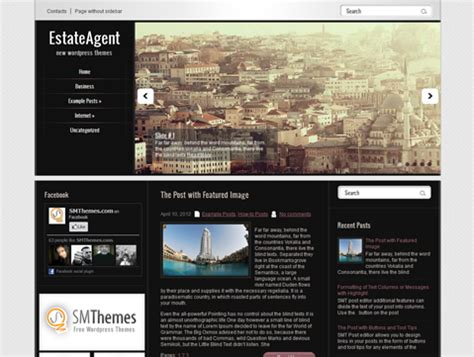 wordpress themes free left menu estateagent free wordpress theme