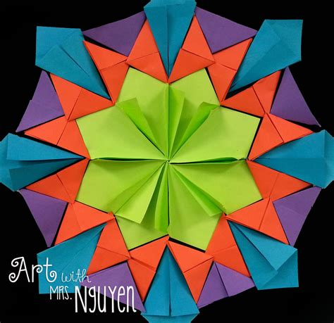 Origami Lesson - radial paper relief sculptures 4th 5th with mrs