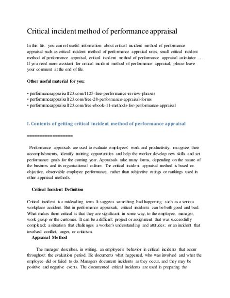 How To Write A Critical Appraisal Essay by Critical Incident Method Of Performance Appraisal