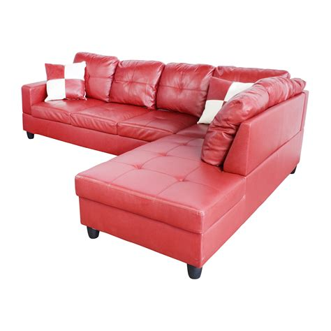 red faux leather sectional sofa 76 off beverly furniture beverly furniture red faux
