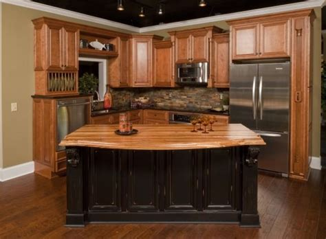 Distressed Blue Kitchen Cabinets Honey Oak Kitchen Cabinets Like The Stone Backsplash