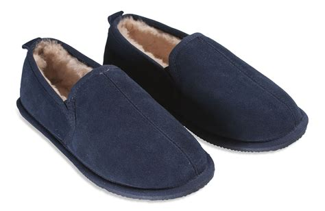 the slipper and the nordvek mens genuine sheepskin slippers suede sole