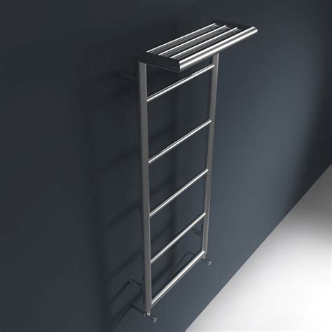 wall mounted towel radiator with top towel rack shelf