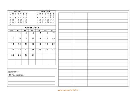 Calendrier Juillet Aout 2014 Calendrier Juillet 2014 224 Imprimer Gratuit En Pdf Et Excel