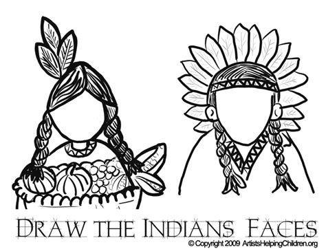 Indian Face Coloring Page | thanksgiving indians coloring pages printouts draw