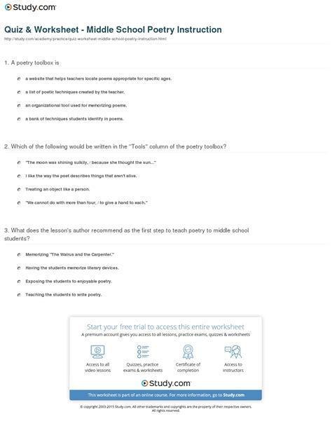 Poetry Worksheets Middle School by Quiz Worksheet Middle School Poetry